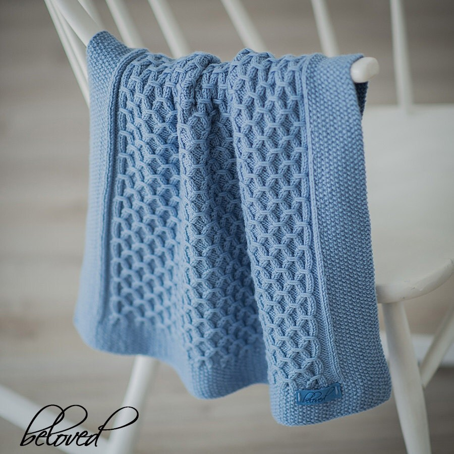 Hand Knitting Patterns For Babies : Hand Knit Baby Blanket Knit Newborn Blanket Hand Knitted