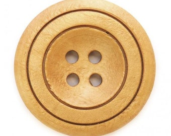 Wood Button, natural color, 30mm (1.25 inch)