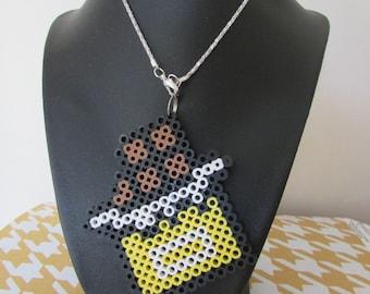 Hama/ perler bead 8 bit chocolate bar necklace pixel art