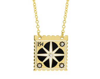 Quatrefoil Stamp Necklace with Black & White Enamel