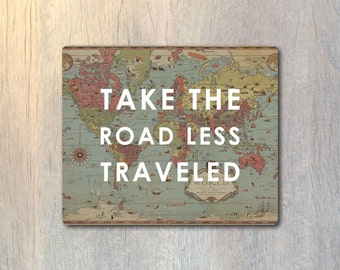 Take The Road Less Traveled Vintage Map Mouse Pad - Explore Typography Computer or Office Work Station Decor