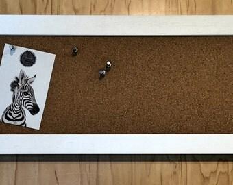 White Wash Wood Framed Corkboard