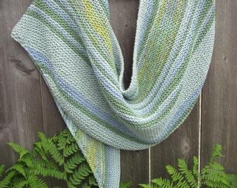 Organic Cotton Shawl   Knit Shawl   Blue Shawl   Cotton Wrap   Striped Shawl   Handmade Shawl