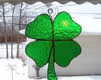 Four Leaf Clover St. Patricks Day Stained Glass