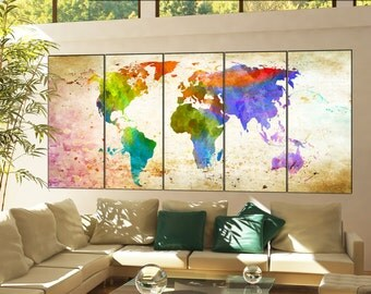 world map wall print wall art print on canvas world map wall print artwork large world map wall print office decor home decoration 5 panel
