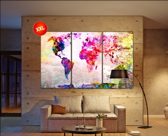 Pink world map  print on canvas wall art Pink world map artwork large world map Print home office decoration