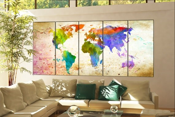 world map wall print  print on canvas wall art world map wall print artwork large world map wall print office decor home decoration 5 panel