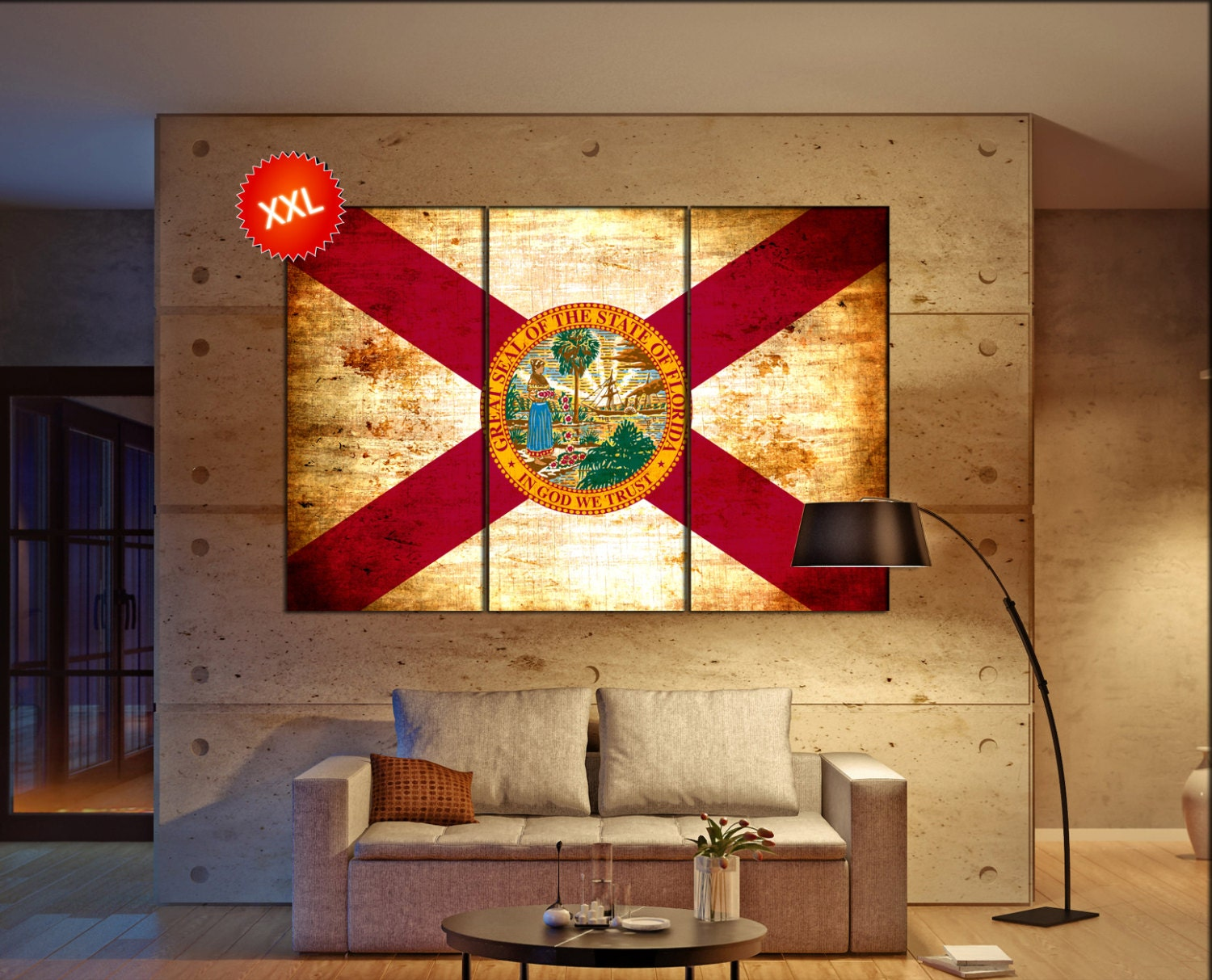 Florida State Flag Canvas Art Print Large Wall Of The Home Decor Interior Office
