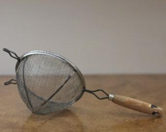 Vintage Wood Handle Sifter, Strainer, Colander, Sieve - Metal Mesh Strainer - Chippy Painted Wood Handle