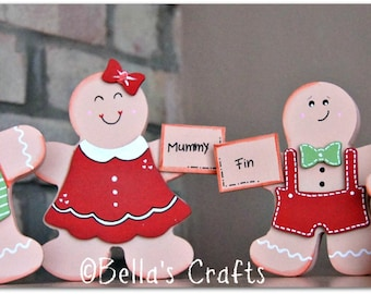 Personalised Gingerbread Family Ornament,  Handmade Christmas decoration, Freestanding Gingerbread man family.