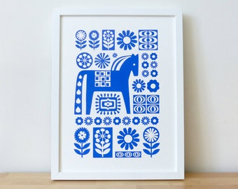 Scandinavian Dala Horse Screen Print Wall Art 70s Retro Blue Hand Made