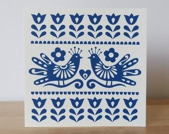 Mexican Love Birds Greeting Card Blank Birthday Thank You Valentine Anniversary Folk Art Frida Kahlo Paper Cut Flowers