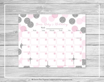 Pink and Silver Baby Shower Guess Baby's Birthday - Printable Baby Shower Guess Baby's Birthday Game - Pink and Glitter Baby Shower - SP123