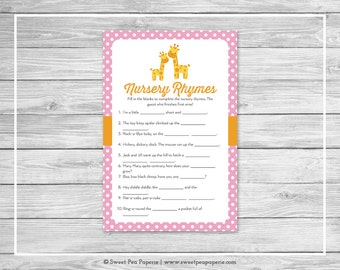 Giraffe Baby Shower Nursery Rhyme Game - Printable Baby Shower Nursery Rhyme Game - Pink Giraffe Baby Shower - Nursery Rhymes - SP129