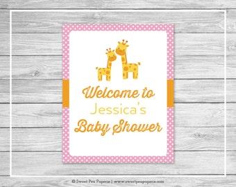 Giraffe Baby Shower Welcome Sign - Printable Baby Shower Welcome Sign - Pink Giraffe Baby Shower - Shower Welcome Sign - EDITABLE - SP129