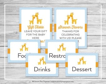 Giraffe Baby Shower Table Signs - Printable Baby Shower Table Signs - Blue Giraffe Baby Shower - Baby Shower Signs - EDITABLE - SP130