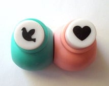 Mini paper punch 2 piece set - Dove and heart shape craft punch. Scrapbooking supplies. Aluminum paper punch. Bird and Heart punch.