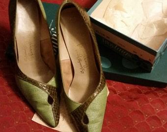 Vintage 50's 60's Fashion Pumps Troylings Designer Eden Shoes Seymour Troy Green Linen & Snake Skin Classic Pencil Point Heels Original Box