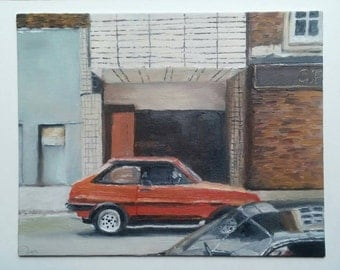 "Original 8"" × 10"" Car Oil Painting: ""Orange Car"""