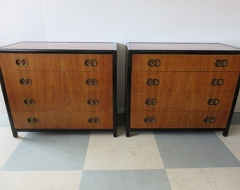 pair of luxe mid century modern micheal taylor four drawer 1950s bachelors chest for baker - Mid Century Modern Furniture Of The 1950s