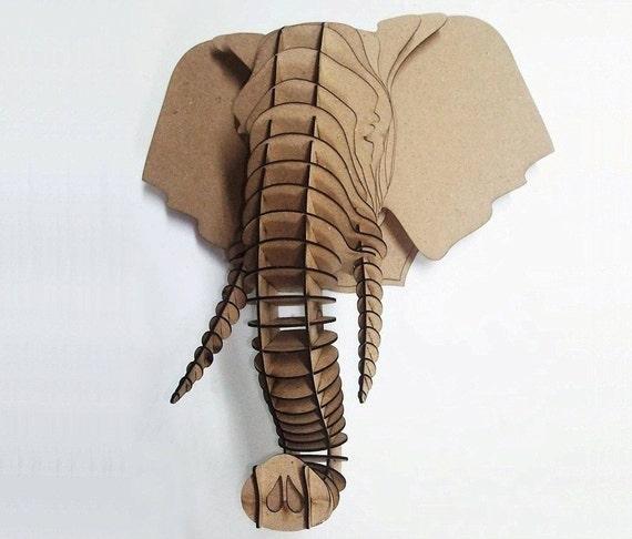 elephant head 3d puzzle animal head mdf elephant head wood. Black Bedroom Furniture Sets. Home Design Ideas