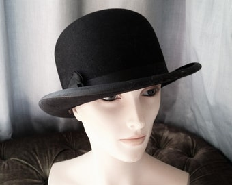 Vintage Bowler Hat, Christys London Brookfields Hatters and Hosiers Stafford Dressage Derby Bowler Diploma Quality Light Weight Steampunk
