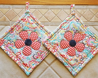 Paired Flower Applique Large Potholders and Hotpads