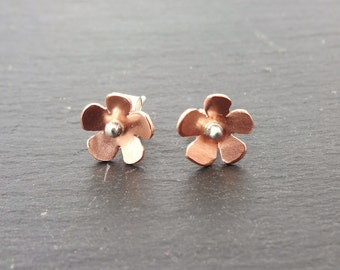 Copper and Sterling silver flower stud earrings