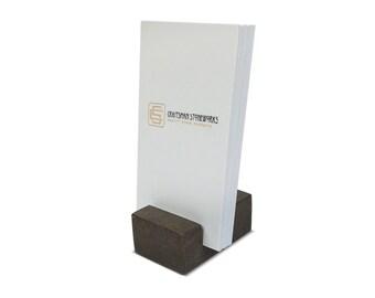 Vertical Business Card Holder - Brown Quartz - Office Desk Home, Recycled Quartz