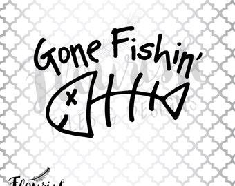 Gone Fishin' Digital Cut File (SVG, PNG, PDF) | Fish Bone Hand Drawn Happy Fishbone