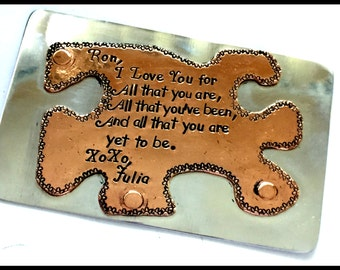 Aluminum wallet insert, Copper puzzle piece,Husband gift, Anniversary gift, Boyfriend Gift, You AreThe missing Piece Of My Puzzle Gift.