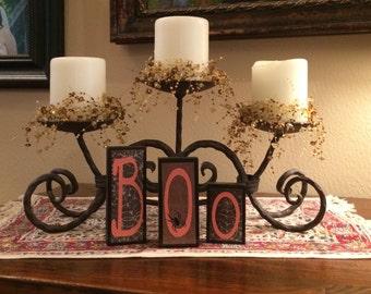 Halloween Blocks, Boo Blocks,Wooden Halloween Decor,Seasonal Decor,Fall Decor,Orange & Black Wooden Blocks,Halloween Decoration