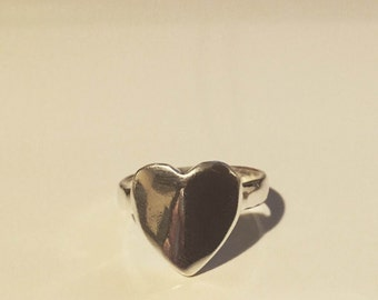 Sterling silver ring with heart handmade beautiful