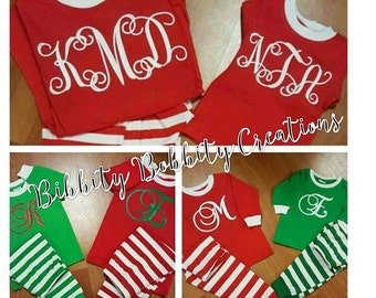 PRE-ORDER*** September 15th Deadline for ordering***NEW Designs***Personalized / Monogrammed Matching Christmas Pajamas -Adults & Children