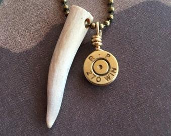 Deer Antler & Bullet Casing Necklace, Mens jewelry, Upcycled bullets, Mens necklaces, Bullet jewelry, Gifts for men