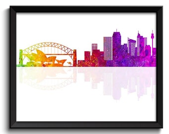 Sydney Skyline Painting Art Poster Print Sydney Wall Decor Sydney Wall Art Colorful Rainbow Australia City Map Home Decor