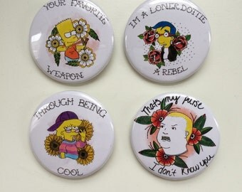 King of the Hill / Simpsons 1.5 inch pin back buttons