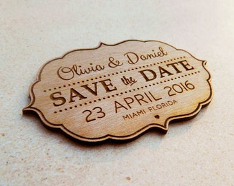 Save the Date personalized wooden engraved magnets for beautiful weddings by Acrylic Art Design
