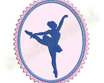 Ballerina Cameo Silhouette, machine embroidery applique design, 2 sizes, 5x7 hoop, 6x8 hoop, File INSTANT DOWNLOAD