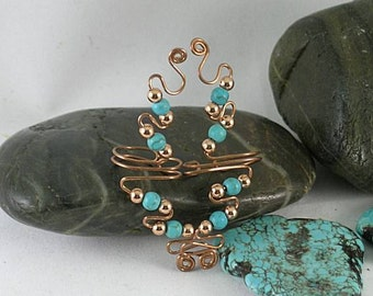 SALE - 4B Turquoise and Copper Spiral Ear Vines - Skystone Ear Cuffs