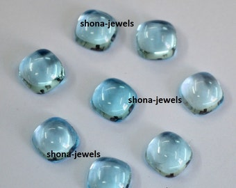 Lot Of 10 Piece Sky Blue Topaz 7X7 MM cushion Cabochon Calibarated loose gemstone with free shipping
