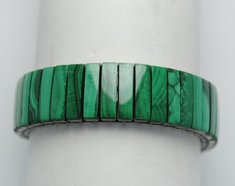Bracelet malachite - bracelet extensible - bracelet boho - bracelet vintage - bracelet bohème - bijoux vintage - bijoux malachite