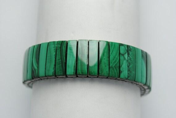 Malachite bracelet, extensible bracelet, boho bracelet, vintage bracelet, vintage jewelry, malachite jewelry, green stone, malachite stone