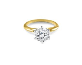 CZ solitaire, 14k Solid White Gold CZ,  14k Solid Yellow Gold,  CZ engagement, 14k  Rose Gold,cz Engagement Ring, 6 Prong,bridal, 1 Carat