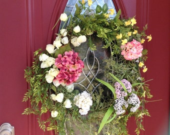 Spring Wreath, Summer Wreath, Hydrangeas wreath, Spring Flowers Wreath, Front Door Wreath, Spring Flowers