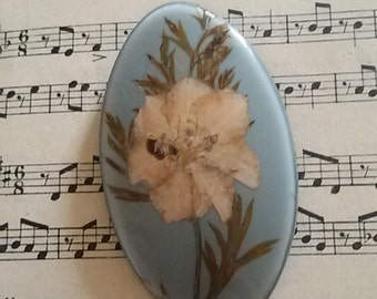 Oval pin dried flowers / Vintage 70