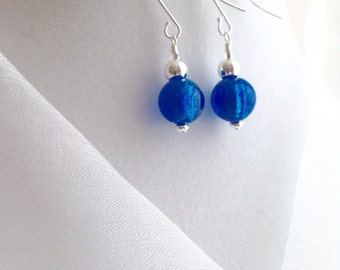 Royal Blue and Silver Glass Dangle Earrings