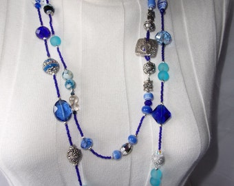 SALE; 114   Royal Blue Extra Long Necklace.
