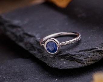 Contemporary Gold Sapphire and Diamonds Ring, 18K White Gold Ring, 1 Ct Natural Blue Sapphire Gold Ring, Diamonds Gold Ring, Zehava Jewelry