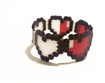 Health Meter Plastic Cuff - Video Game Jewelry - Heart Container Bracelet - Geeky Gift - Nerdy Jewelry - Geek Wristband